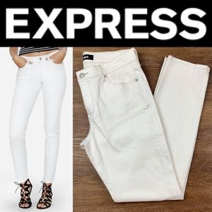NEW EXPRESS WHITE MID RISE SKINNY JEANS